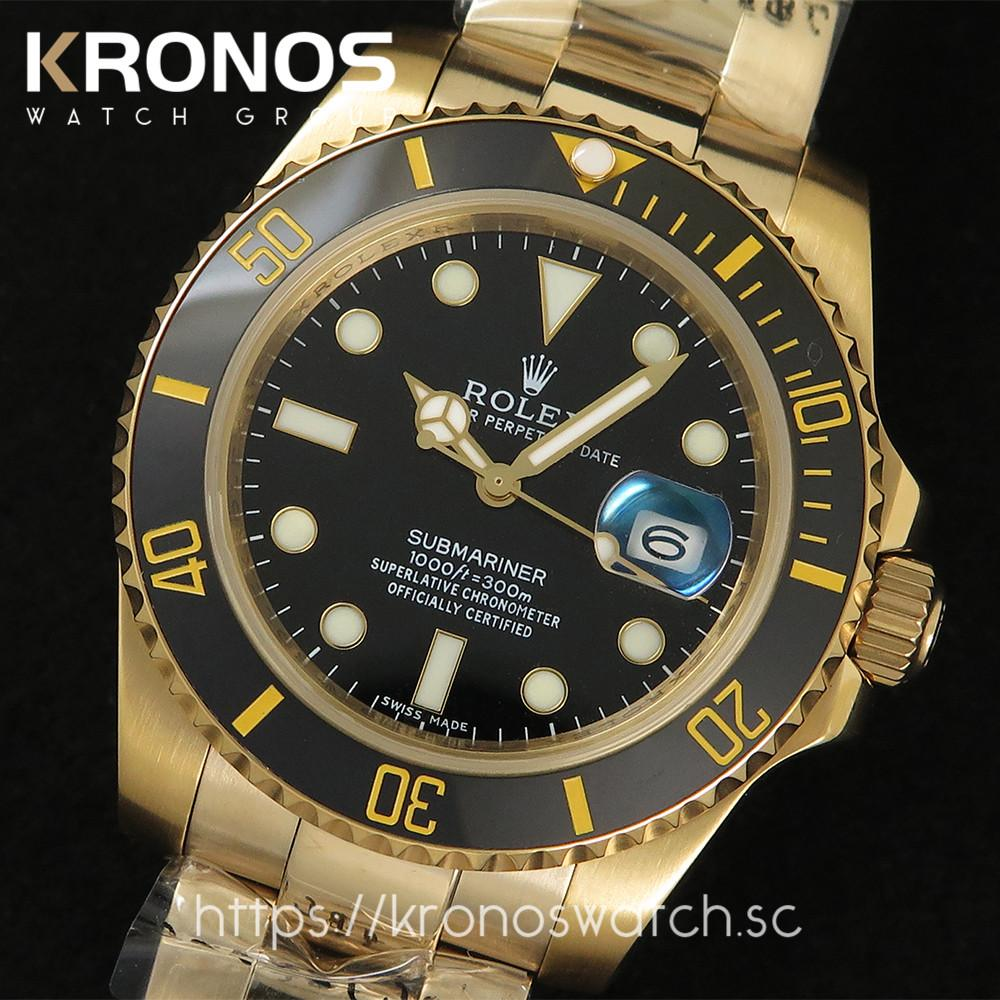 Rolex Submariner 18k Gold Black Dial Ceramic Bezel Replica